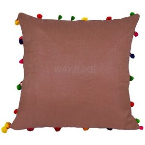 Cushion Cover Poly Dupion Silk With Pom Pom Pillowcase for Couch Sofa Pack of 2