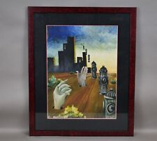 A seidenberg Artist Oil Painting Surrealism Hands Fire Hydrant Cityscape Signed