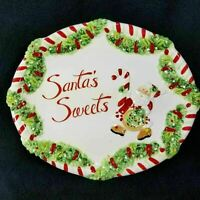 Fitz and Floyd Santas Sweets Cookie Platter Christmas Holiday Plate Embossed