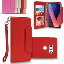 For LG V30 /Plus Luxury Charming Leather Wallet Case Mirror Flip Magnetic Cover