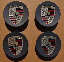 Factory Porsche Panamera Center Caps Set Wheel 4 Genuine Original OEM Color Logo