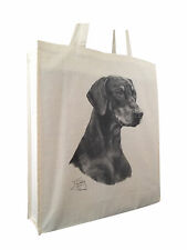 Doberman Pinscher (b) Cotton Shopping Bag Gusset & Long Handles Perfect Gift