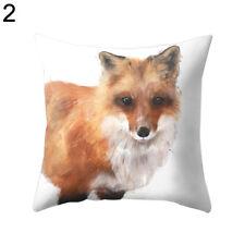 Fox Bear 3D Animal Print Decorative Throw Pillow Case Home Cushion Cover Natural