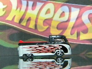 Hot Wheels  VW Volkswagen Truck Black and White with black flames , surboards