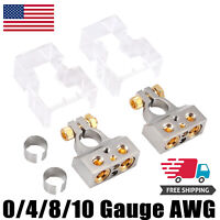 2pcs 0/4/8/10AWG Battery Terminal Clamp Positive&Negative Connectors with Covers