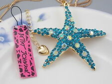 Betsey Johnson Fashion Jewelry Cute Crystal blue starfish Pendant Necklace #G154