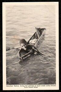 1917 ZANZIBAR NATIVE DIVING FOR PENNIES THROWN FROM SHIPS POSTCARD AFRICA