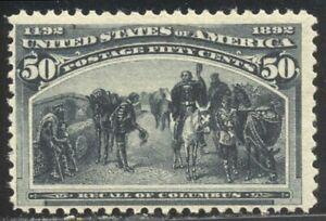U.S. #240 SCARCE Mint NH w/Cert - 1893 50c Columbian ($1,300)