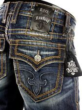 "$220 Mens Rock Revival Jean ""Anthony"" Volcano Stitch Straight Leg 32 X 33"