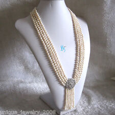 """27-31"""" 5-6mm White 4Row Freshwater Pearl Necklace With Tassel A-20"""