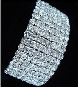 8 Rows Crystal  Clear Rhinestone CZ Silver Plated Bracelet 6.8 Inches