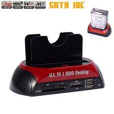 "Dual USB 2.5"" 3.5"" SATA IDE HDD Hard Drive Disk Docking Station D'accueil DISQU"