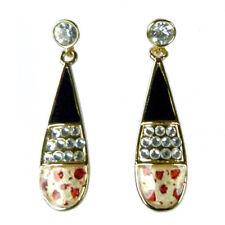 Boucles d'oreilles plaqué or cristal Swarovski goutte noir léopard rétro pin up