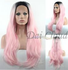Beautiful Women Cosplay Long Dark Pink Ombre Lace Front Wavy Curly Hair Full Wig