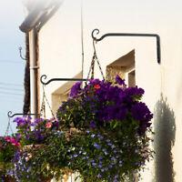 2pcs Garden Flower Basket Hook Wall Hanging Bracket Sturdy Flowerpot Coat Hanger