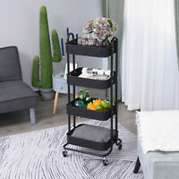 HOMCOM 4-Tier Storage Utility Cart Mobile Serving Trolly Mesh Bottom Metal Black