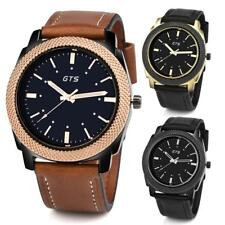 Fashion GTS Men's Date Alloy Case Synthetic Leather Analog Quartz Sport Watch