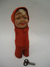 Antique Rare Red Riding Hood Papier Paper Mache Schuco? Wind Up Doll Toy +Key
