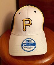 Pittsburgh Pirates Cap New Era Stretch Fitted White/Black Neo Mesh Hat Size S/M