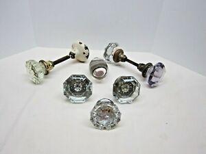 8 Vintage Crystal Glass & Metal Door Knobs