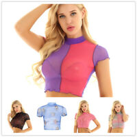 Women Sheer Mesh Fish Net Short Sleeve Turtle Neck Crop Top Blouse T-shirt Tees