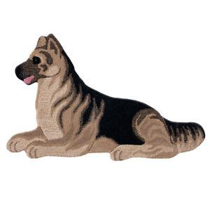 Tappeto scendiletto bagno camera morbido 100% lana 60x90 cm cane pastore tedesco