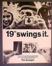 1966 Polaroid Land Camera Memorabilia~The Swinger~Winter Skiing B/W Photo Art Ad