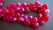 Hot pink chalcedony faceted heart briolette