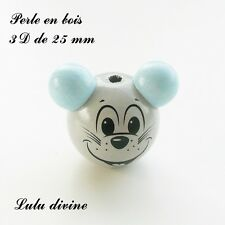 Perle en bois de 25 mm, Perle 3D Tête de souris : Gris clair / Bleu clair