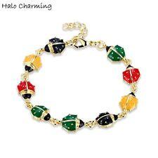 1 Pcs Gold Plated Ladybug Charm Bracelets Fashion Jewelry Gift Enamel 18+5cm