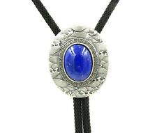 Silver Plated Nature Lapis lazuli Stone Ukiyo-e Western Cowboy Neck Bolo Tie