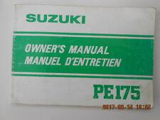 suzuki   pe175 . manuel d'entretien . owner's manual . pe 175 .