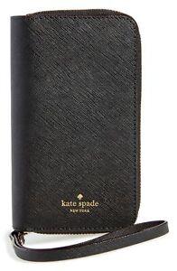 Kate Spade NY 256594 iPhone X/XS Black Leather Folio Case Wristlet Strap Zip