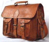 New Men's Genuine Vintage Brown Leather Messenger Shoulder Laptop computer Bag