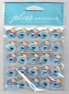 JOLEE'S BOUTIQUE BLUE GLITTER PACIFIER REPEATS DIMENSIONAL STICKERS  BNIP
