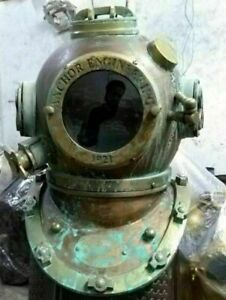 "Antique Boston Diving Scuba SCA Divers US Navy Mark V Marine Anchor Helmet 18"""