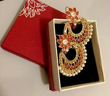 Ghazi's Imitated Indian Antique Red Gold Kundan Pearl Jhumka Earring In Gift Bo