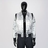 CELINE HOMME 3400$ Teddy Blouson Jacket In Crocodile Pattern With Shoulder Yokes