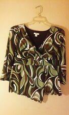 Cato Green White And Brown 3/4 Sleeve Dressy Casual Top. Size Large.