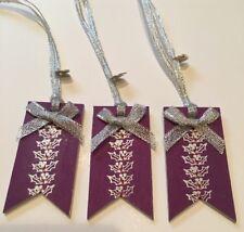 3 x Holly Cadeau De Noël Étiquettes colis cadeau fait main en bois véritable Violet Argent