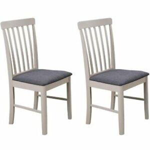 Altona Set Of 2 Dining Chair Stone Grey , Fabric and Solid Wood Annaghmore
