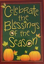 "Celebrate the Blessings Pumpkins Fall Autumn Yard Garden Flag 12.5"" X 18"""