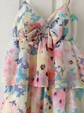 CANDIE'S PRETTY PASTEL FLORAL STRAPPY LINED POLYESTER DRESS - SIZE XS