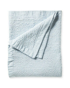 NWT $378 Serena & Lily Almonte Linen Cotton Quilt - Queen/Full - Blue White