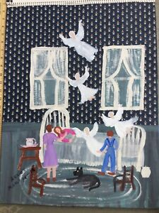 Annie Wellborn  folk art painting  Angel Outsider Artist Georgia #6  Mama Prayin