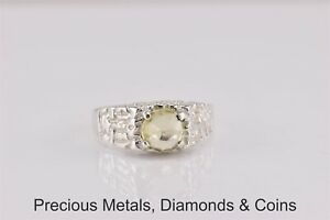 Sterling Silver Pale yellow citrine Solitaire Nugget Band Ring 925 Sz: 11