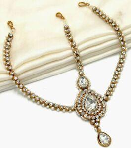 Indian Pearl CZ Head Piece Pearl Bridal Maang Tikka Matha Patti Wedding Jewelry