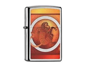 """ZIPPO """"YEAR OF THE MONKEY"""" BRUSHED CHROME COLOR LIGHTER ** NEW in BOX **"""