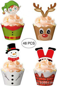 48PCS Christmas Deer Elf  Snowman Printed Stand Up Cup Cake Decoration Toppers