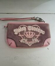 """Juicy Couture Leather & Suede Pink Wristlets Clutch Purse 7 1/2 """"L by 4 1/2 """"H"""